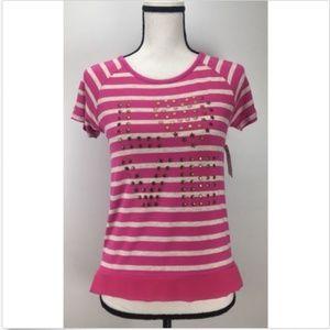 Design History Knit Top Sz L Large Embellish Love